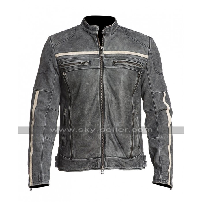 Mens Cafe Racer Moon Biker Distressed Leather Black Rider Jacket