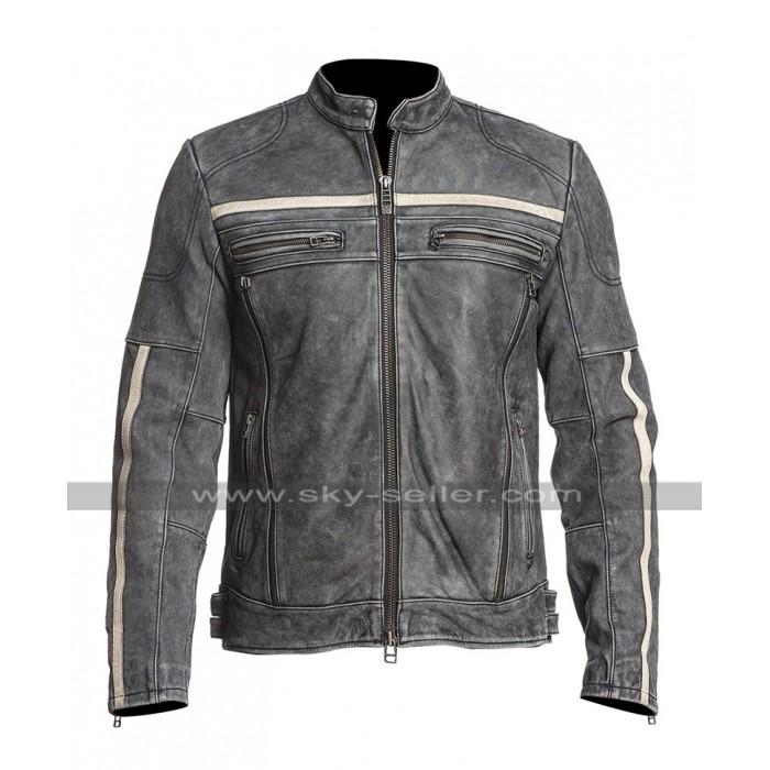 Mens Cafe Racer Moon Biker Distressed Leather Black Rider Jacket