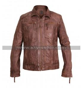 Men's Vintage Biker Shirt Collar Brown Leather jacket