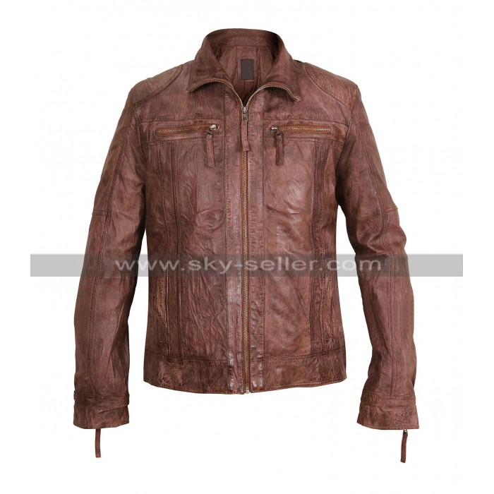 Men's Vintage Biker Shirt Collar Brown Leather jacket