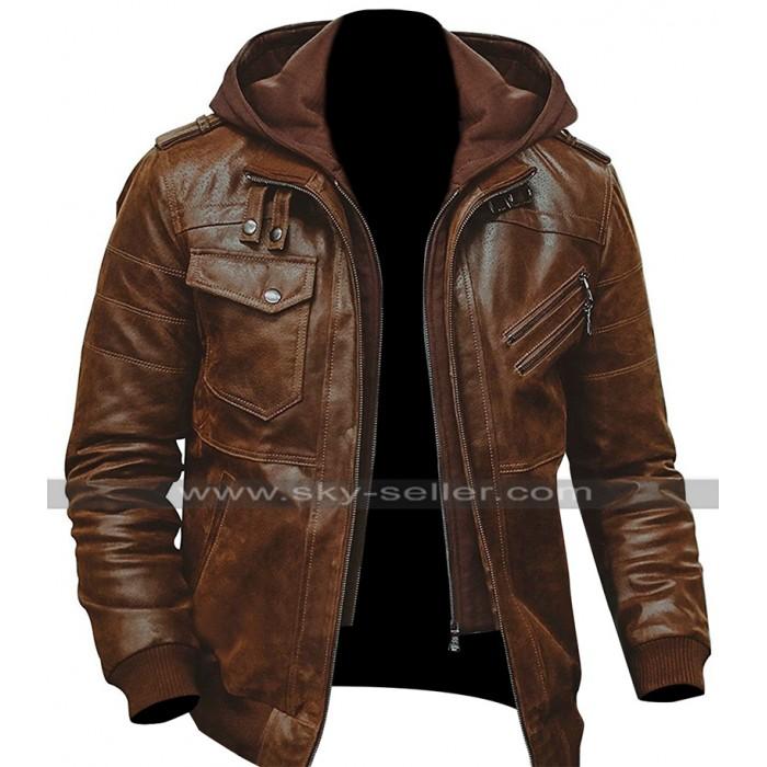 Mens Slim Fit Bomber Hoodie Vintage Brown Biker Leather Jacket