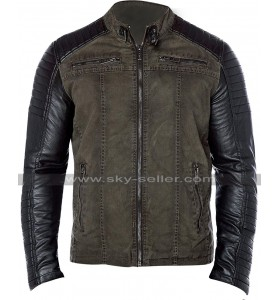 Mens Vintage Biker Cafe Racer Quilted Casual Motorcycle Cotton Leather Jacket