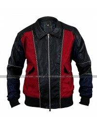 Mens Retro Bomber Biker Shirt Collar Unique Style Leather Jacket