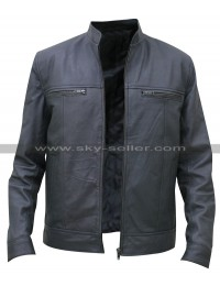 Men's Grey Leather Bomber Moto Jacket