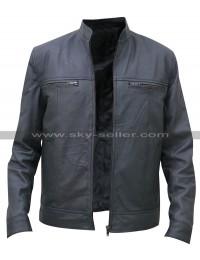 Men's Grey Leather Bomber Moto Jacket