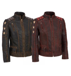 Mens Star Logo Retro Biker Cafe Racer Distressed Maroon Motorcycle Leather Jacket