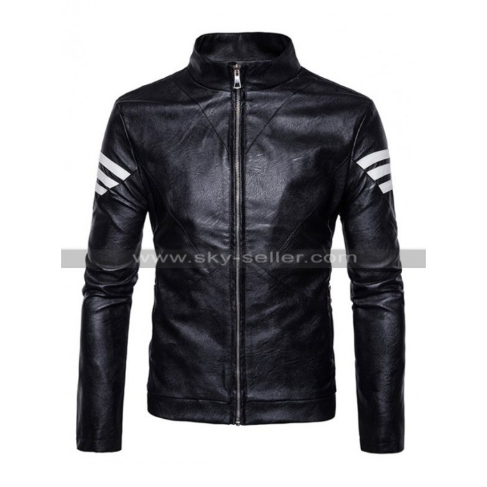 Mens Slim Fit White Striped Elegant Biker Black Leather Jacket