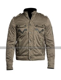 Mens Invisible Biker Style Unique Line Beige Motorcycle Satin Jacket