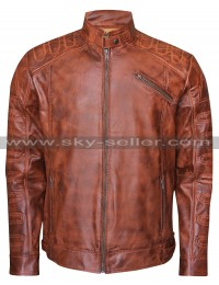 Cafe Racer Men's Vintage Distressed Brown Quilted Biker Jacket