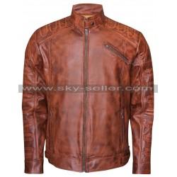 Cafe Racer Men's Vintage Distressed Brown Quilted Biker Jacket