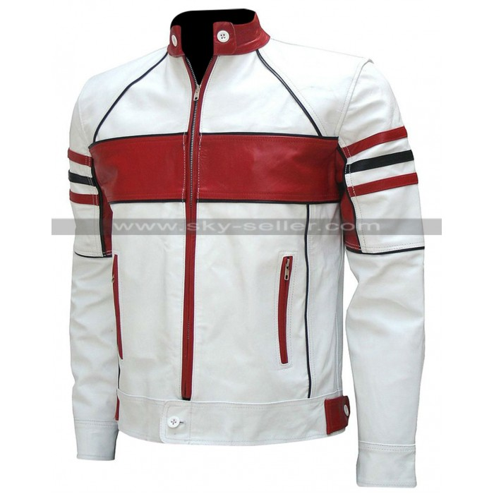Mens White and Red Biker Leather Jacket