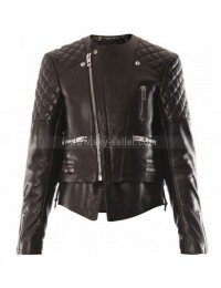 Miranda Kerr Biker Quilted Leather Jacket
