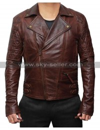 Brando Motorcycle Racer Quilted Brown Leather Jacket