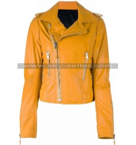 Nicole Richie Yellow Slimfit Motorcycle Leather Jacket