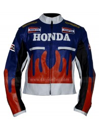 Orange and Blue Honda Repsol Fire Biker Jacket