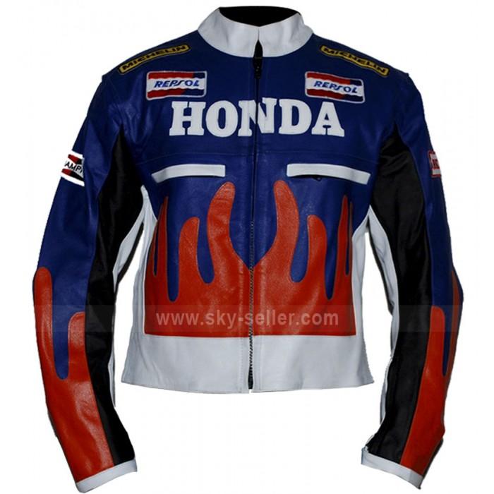 Orange and Blue Honda Repsol Fire Biker Jacket