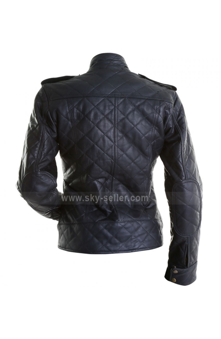 Women s Black Quilted Bomber Leather Motorcycle Jacket