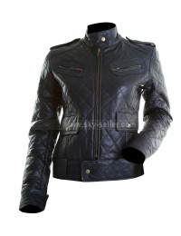 Women's Black Quilted Bomber Leather Motorcycle Jacket