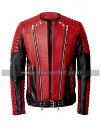 Beyonce Balmain Asymmetrical Zipper Shearling Leather Jacket