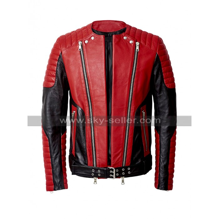 Beyonce Balmain Asymmetrical Zipper Shearling Leather Jacket