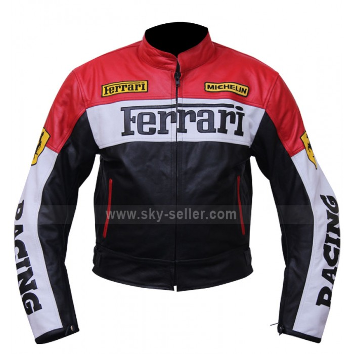 Red and Black Ferrari Biker Leather Jacket