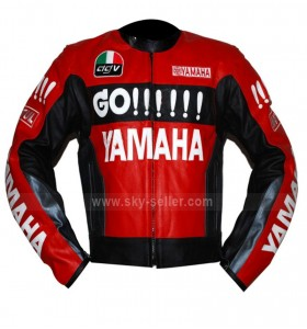 Motorcycle Yamaha Red and Black Leather Jacket