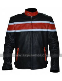 Red and White Striped Motorcycle Real Leather Jacket