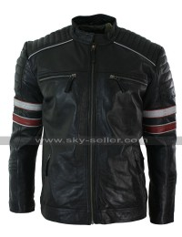 Motorcycle Red And White Stripes Black Leather Jacket