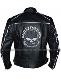 Reflective Skull Harley Davidson Black Leather Jacket