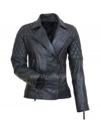 Brando UK Avril Lavigne Style Black Motorcycle Leather Jacket