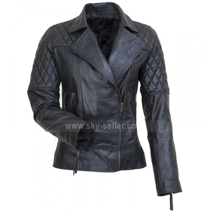 Brando UK Avril Lavigne Style Black Motorcycle Leather Jacket