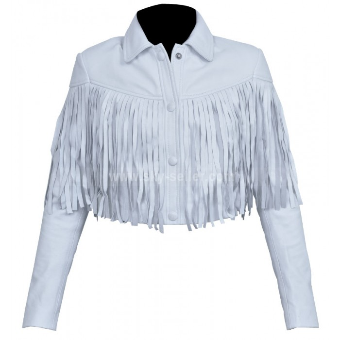 Sloane Peterson (Mia Sara) Fringe White Motorcycle Jacket