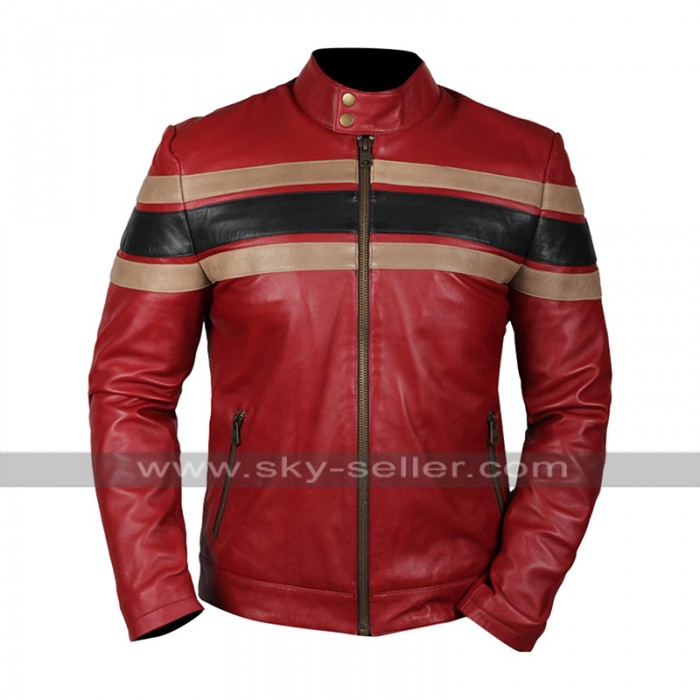 Mens Retro Striped Biker Style Red Motorcycle Leather Jacket