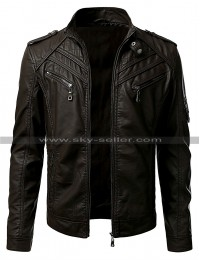 Vintage Cafe Racer Slim Fit Bikers Leather Jacket For Men