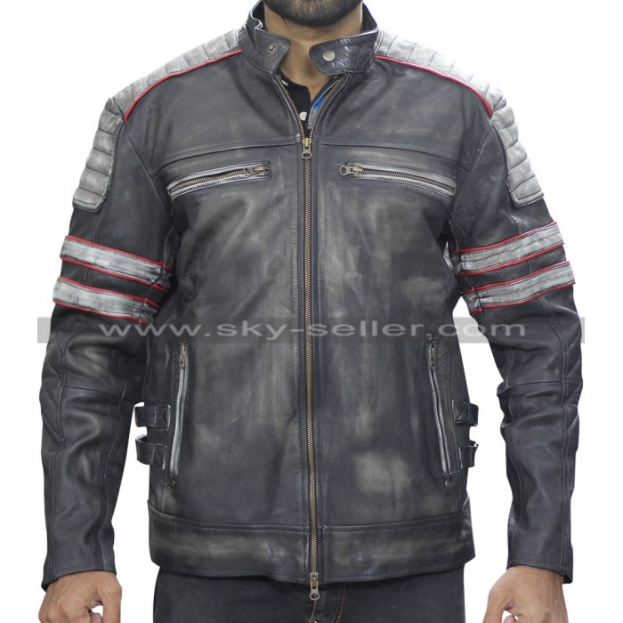 Men's Retro Cafe Racer Vintage Distressed Black Biker Jacket