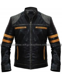 Men's Retro Cafe Racer Vintage Distressed Black Biker Leather Jacket