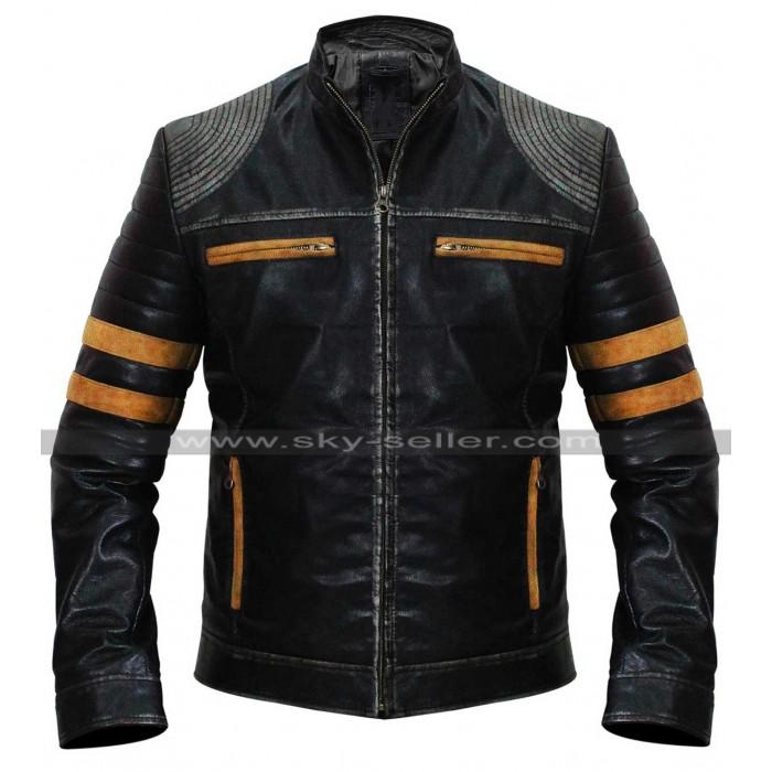 Men's Retro Cafe Racer Vintage Distressed Black Biker Leather Jacket