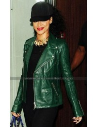 Rihanna Green Edgy Biker Leather Jakcet