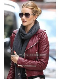 Rosie Huntington Red Biker Leather Jacket