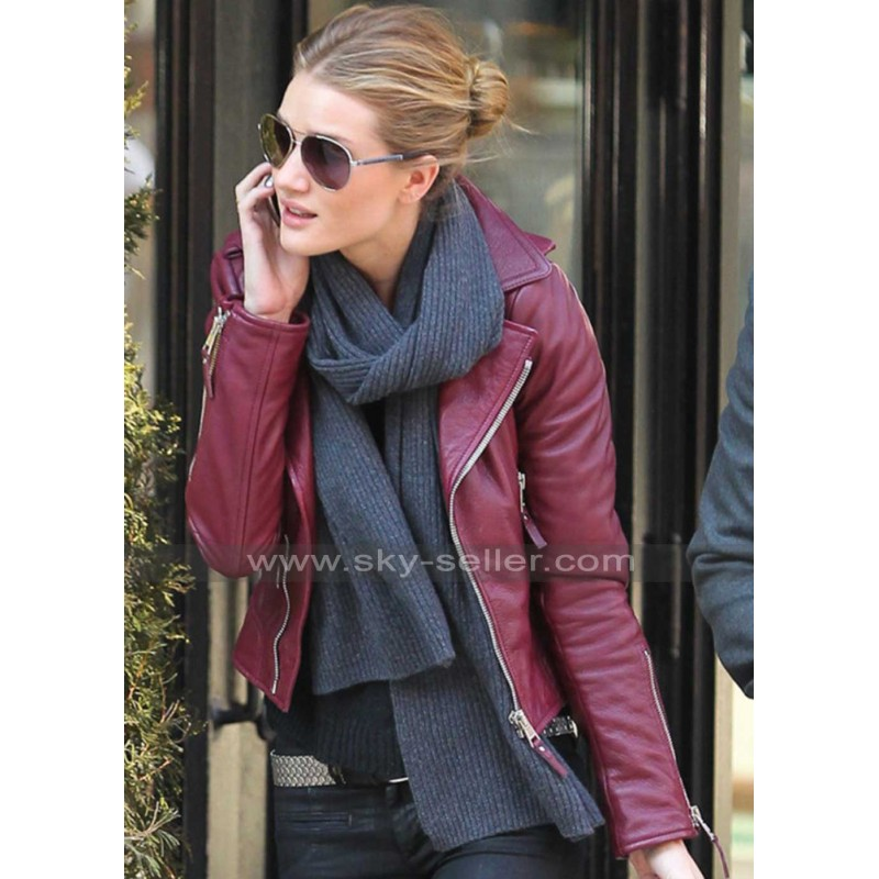 Huntington Red Biker Leather Jacket