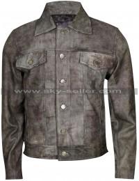 Rustic Black Men's Motorcycle Vintage Leather Jacket