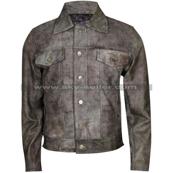 Rustic Black Men's Motorcycle Vintage Leather Jacket