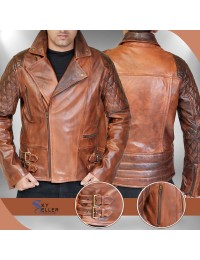 Rustic Vintage Quilted Motorcycle Leather Jacket