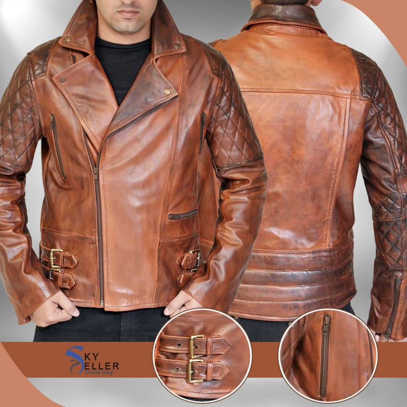 Quilted leather jacket brown