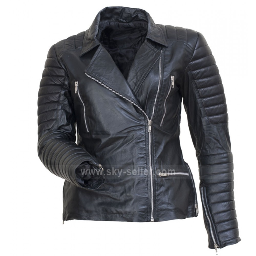 Los Angeles Sandra Bullock Bomber Motorcycle Leather Jacket