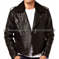Asymmetrical Zipper Slimfit Side Pocket Fur Collar Biker Jacket