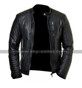 Mens Cafe Racer Slim Fit Biker Quilted Black Leather Jacket