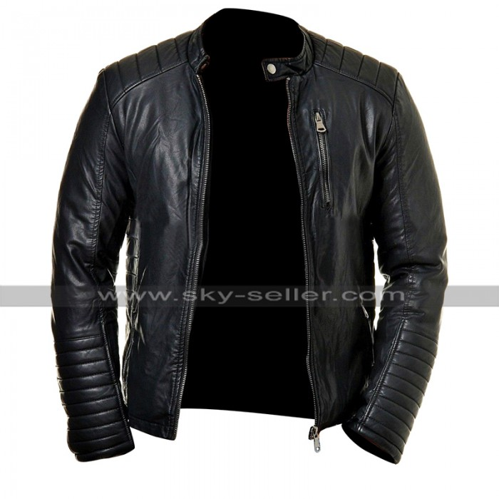Mens Cafe Racer Slim Fit Biker Quilted Black Leather Jacket