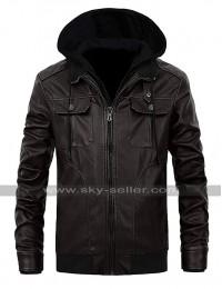 Vintage Biker Cafe Racer Black Multi Pockets Hoodie Leather Jacket