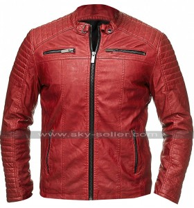 Retro Biker Vintage Red Cafe Racer Quilted Casual Fit Cotton Leather Jacket
